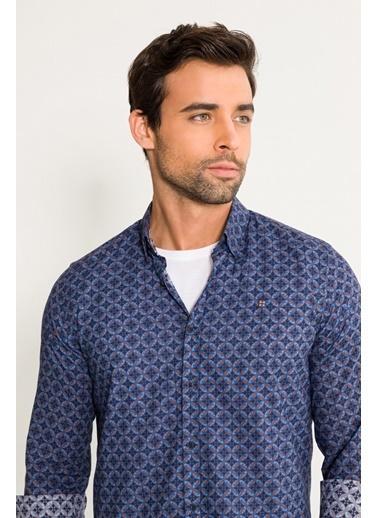 Avva Erkek  Baskılı Alttan Britli Slim Gömlek A01S2257 Lacivert